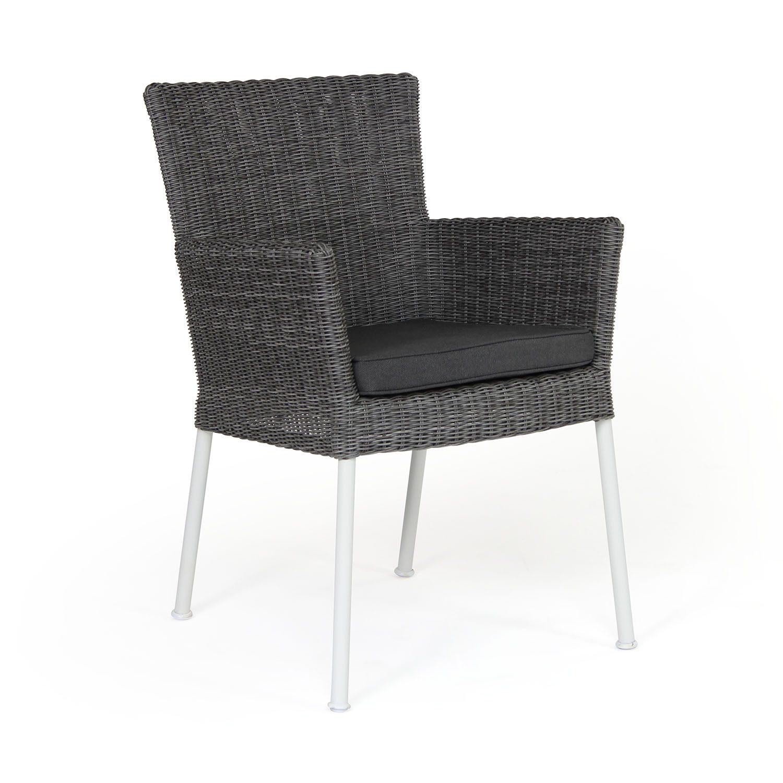 Somerset karmstol i vit aluminium och grå konstrotting från Brafab.