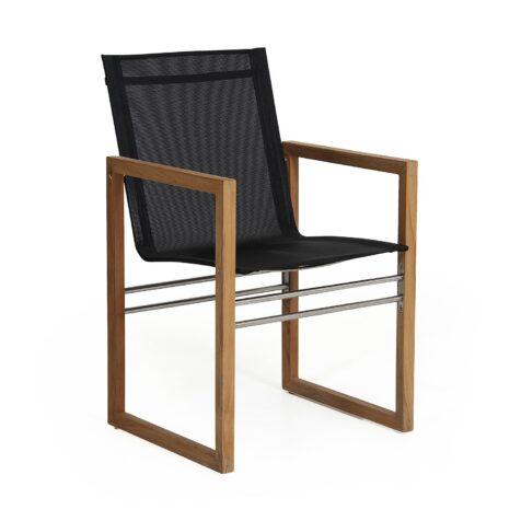 Vevi karmstol i teak och textilene från Brafab.