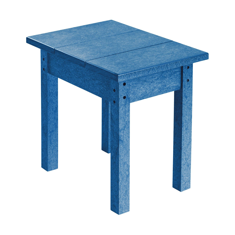 Sidobord i blå återvunnen plast från C.R.Plastic.