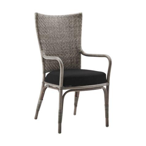 Melody karmstol i färgen taupe med svart dyna.