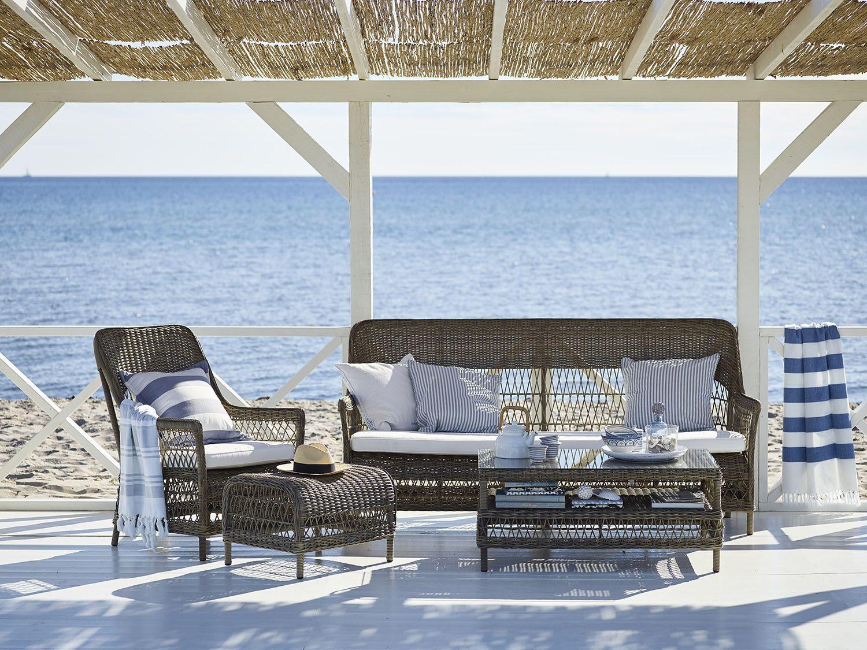 Dawn 3-sits soffa och Dawn fåtölj med Hazel soffbord från Sika-Design.