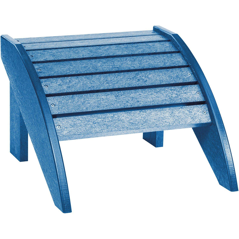 Fotpall i blått till Adirondackstolen i samma serie helt i återvunnen plast från C.R.Plastic Products.