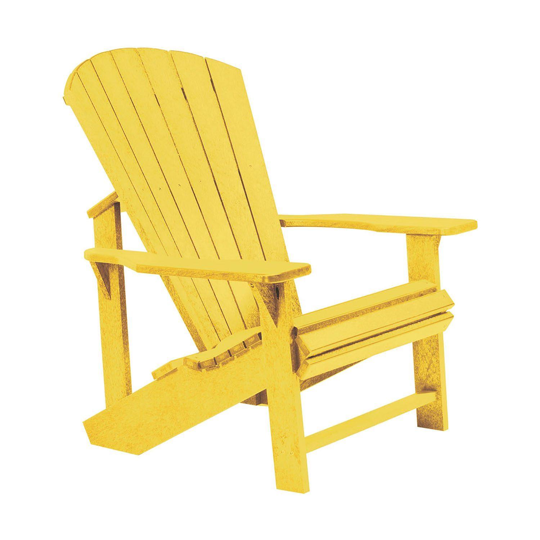 Adirondackstol i återvunnen plast, här i gult.