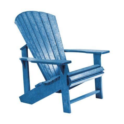 Adirondackstol i återvunnen plast, här i blått.