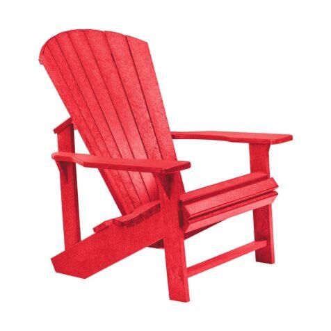 Adirondackstol i återvunnen plast, här i rött.