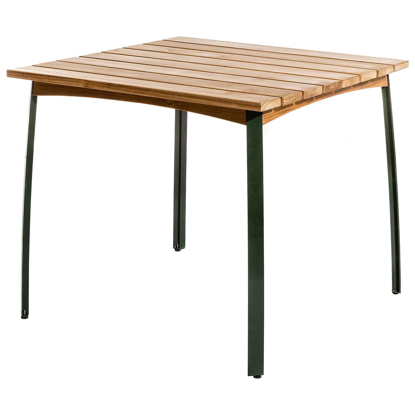 Kerteminde bord 80x80 cm från Skargaarden i teak med stålstativ.