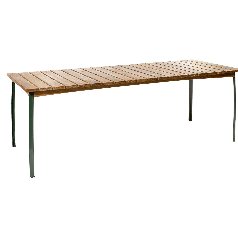 Kertemind matbord från Skargaarden i teak och grönmålat stativ.