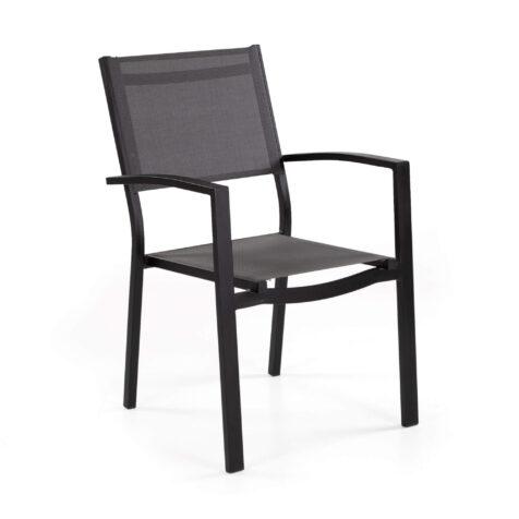 Leone karmstol i svart aluminium och grå textilene.