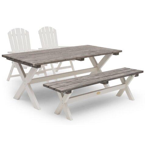Bullerö positionsstolar med Shabby Chic bord och bänk.