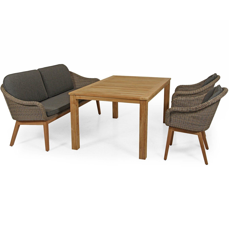 Beverly karmstol och soffa med Leros matbord i teak från Brafab.