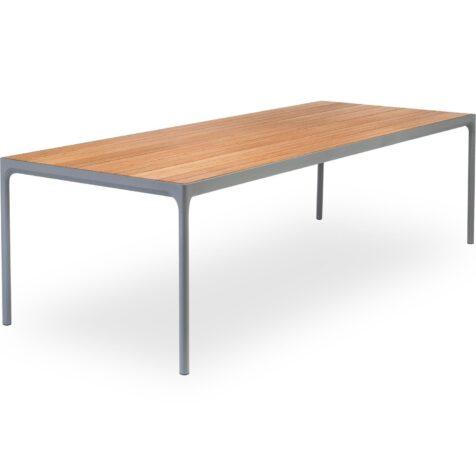 Four matbord i bambu och lackat stål från danska Houe.