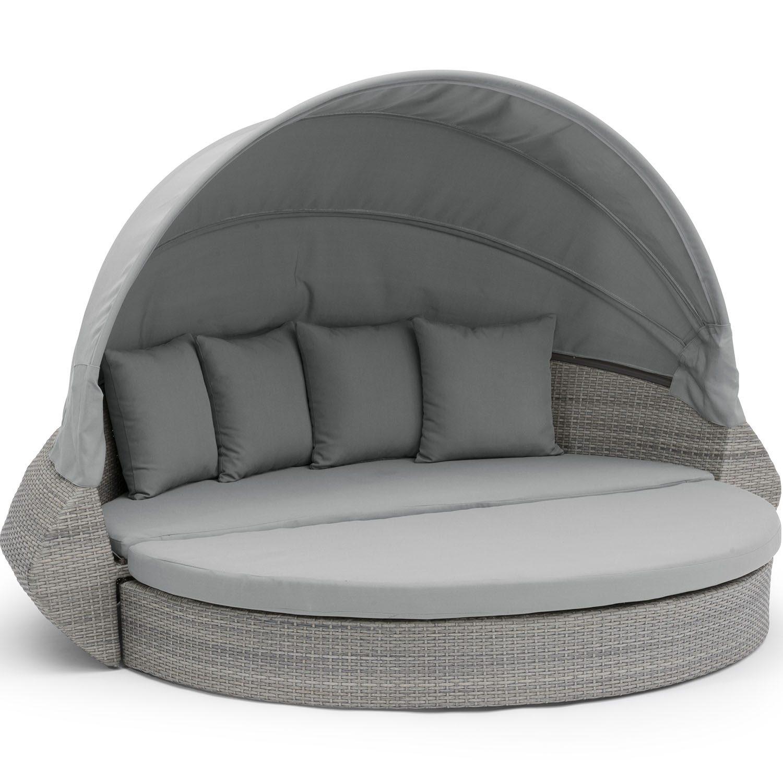Callao loungesoffa i grå konstrotting med solskydd.