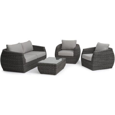 Tara soffgrupp med 3-sits soffa och fåtöljer tillverkade i konstrotting.