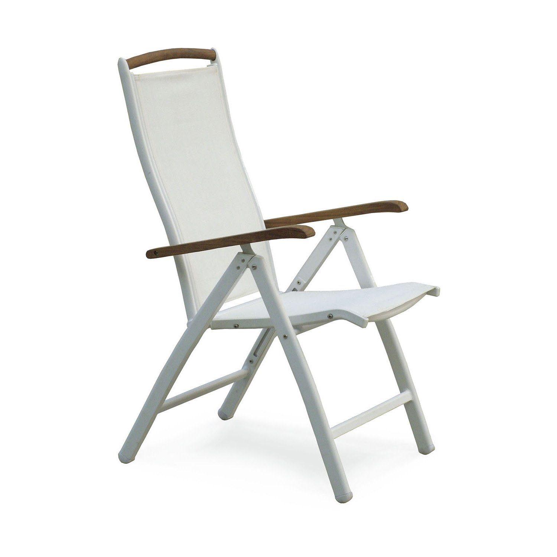 Hillerstorp Nydala positionsstol i vit aluminium och textilene från Hillerstorp.