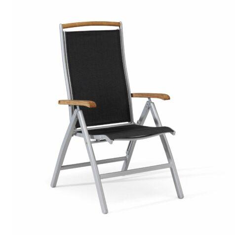 Nydala positionsstol från Hillerstorp i aluminum, textilene och teak.