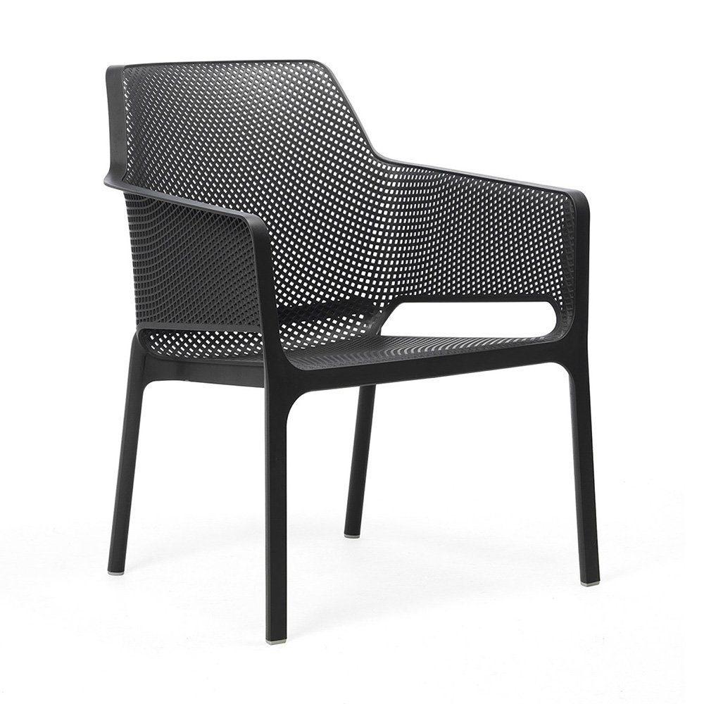 Net relax stapelbar stol i plast i färgen antracit.
