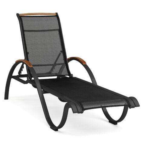 Nydala solsäng i svart aluminium och textilene.
