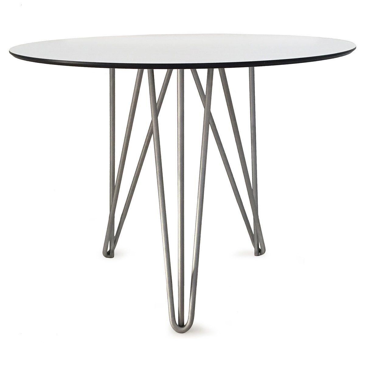 High-tech bord från Grythyttan i varmförsinkad stål och laminat.