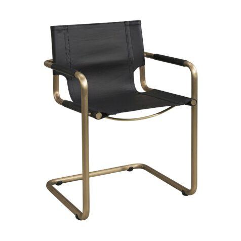 Gianni karmstol från Artwood med kopparfärgat stativ och svart skinn.
