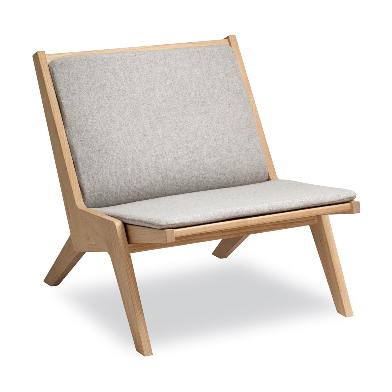 Miskito loungestol, här i ek med dyna i ull.