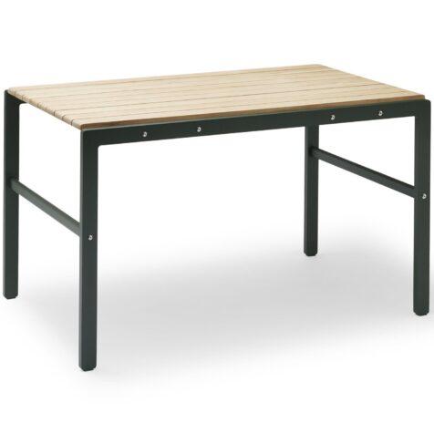 Reform bord i aluminium med bordsskiva i teak från Skagerak.