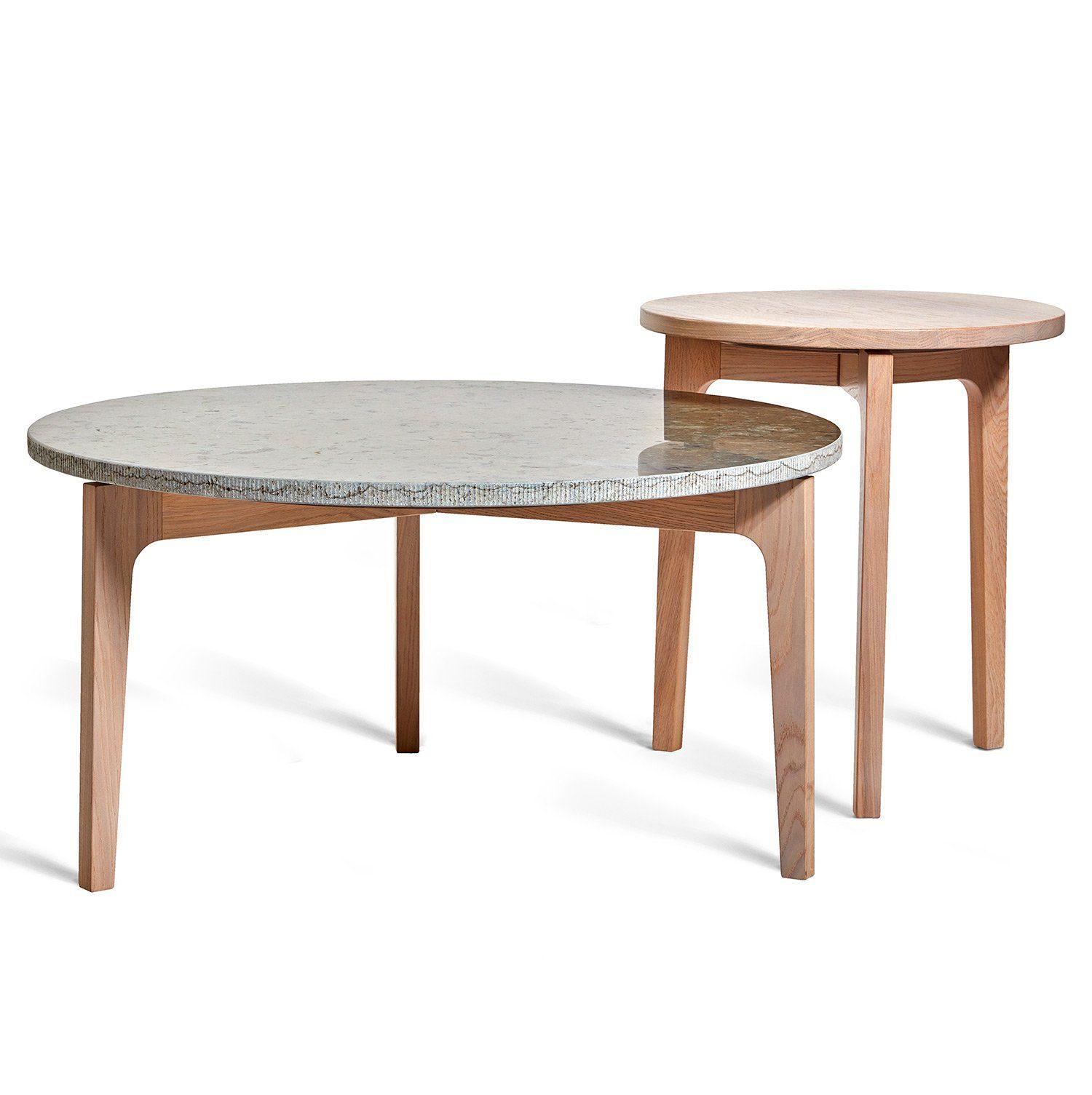 Höllviken soffbord och sidobord i vitpigmenterad ek med kalkstenstopp på soffbordet från Mavis.
