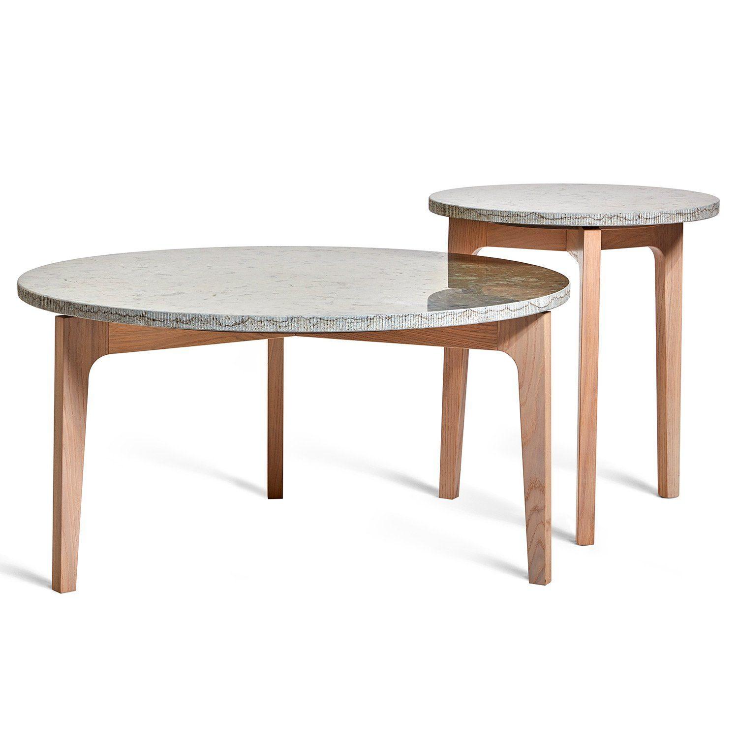 Höllviken soffbord och sidobord i vitpigmenterad ek med kalkstenstopp från Mavis.