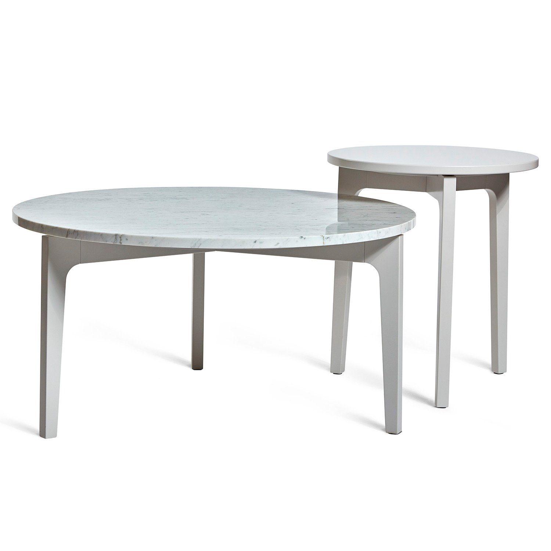 Höllviken soffbord och sidobord i ljusgrått med marmortopp på soffbordet från Mavis.