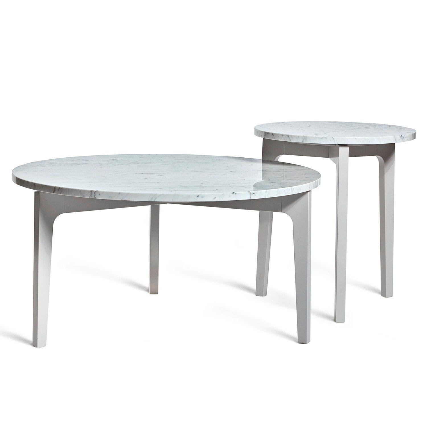 Höllviken soffbord och sidobord i ljusgrått med marmortopp från Mavis.