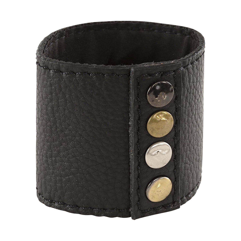 Nero Rivetti servettring i svart läder med nitar.