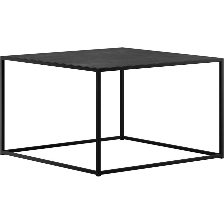 Square soffbord i mellanstorlek i svart lackad stål.