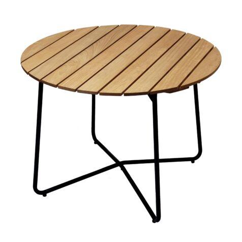 9A bord i oljad ek med mörkgrönt stativ från Grythyttan Stålmöbler.