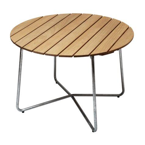 9A bord i oljad ek med galvaniserat stativ från Grythyttan Stålmöbler.
