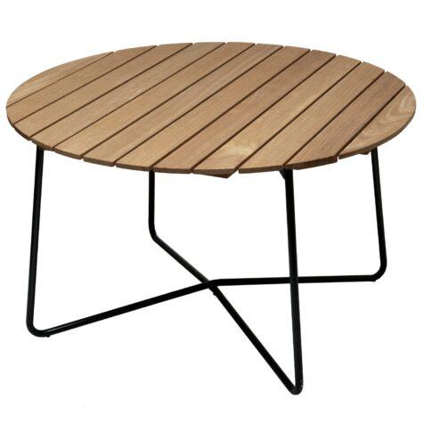 9A bord Ø120 cm i oljad ek med mörkgrönt stativ från Grythyttan Stålmöbler.