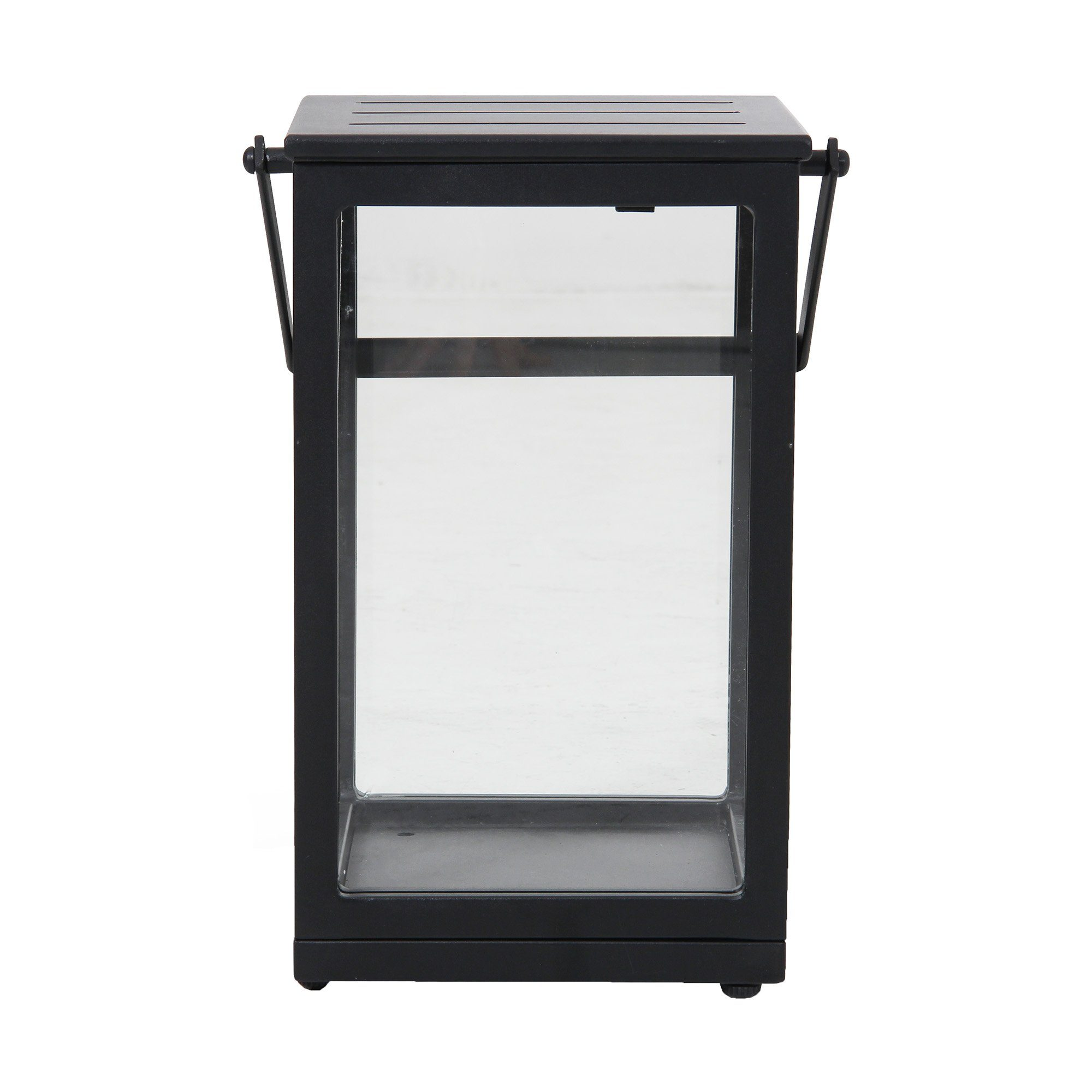 Belfort ljuslykta i svart aluminium med sidor i glas.