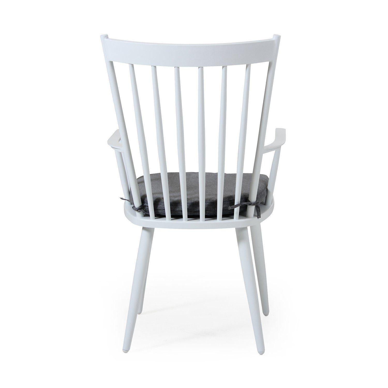 Alvena karmstol i vit aluminium med grå dyna från Brafab.