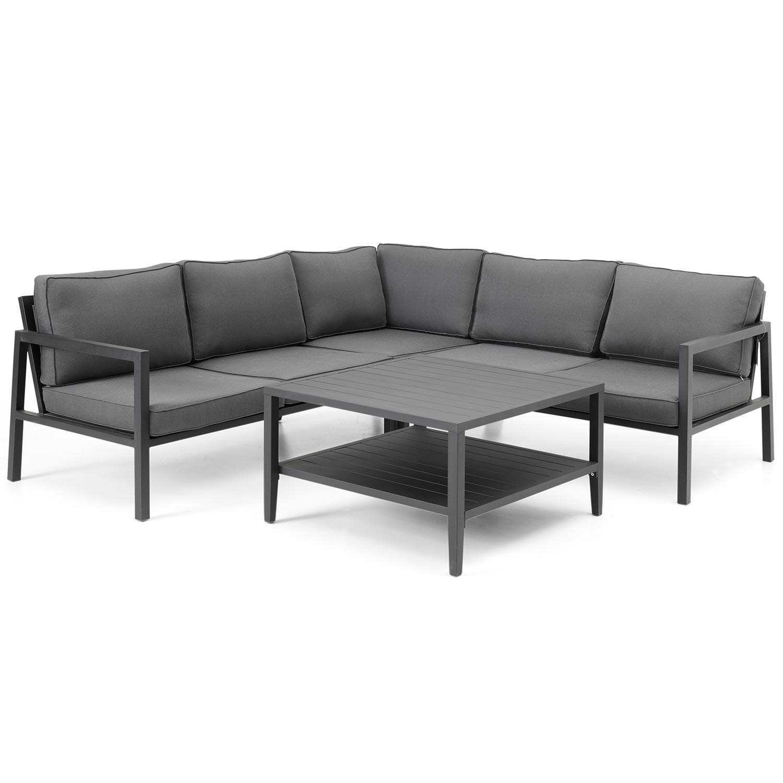 Belfort hörnsoffa i svart tillsammans med Chelles soffbord i svart från Brafab.