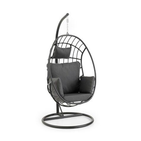 Palo hänggunga i svart aluminium inklusive dynor i grått samt stativ.