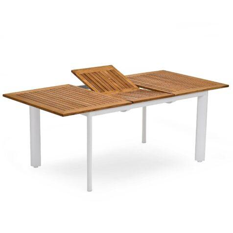Nydala förlängningsbord i vit och teak från Hillerstorp.