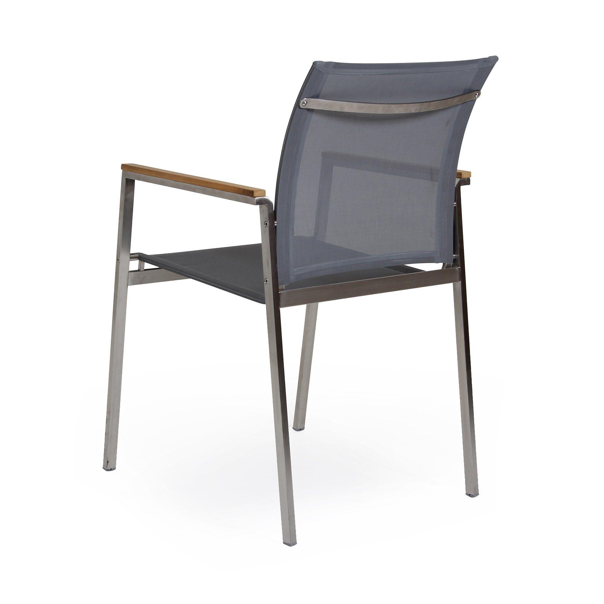 Hinton stapelstol i rostfri stål och textilene från Brafab.