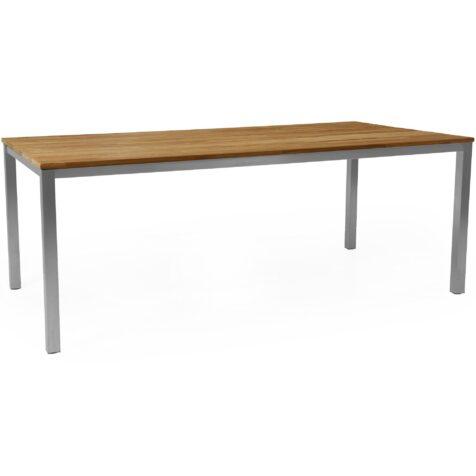 Hinton matbord från Brafab tillverkat i rostfritt stål med en bordsskiva i teak.