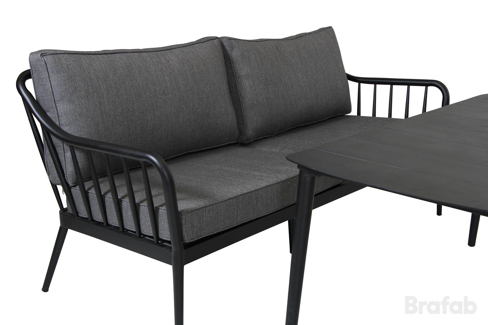 Coleville 3-sits soffa, en utemöbel tillverkad i aluminium med dynor i vädertåligt grått olefintyg från Brafab.