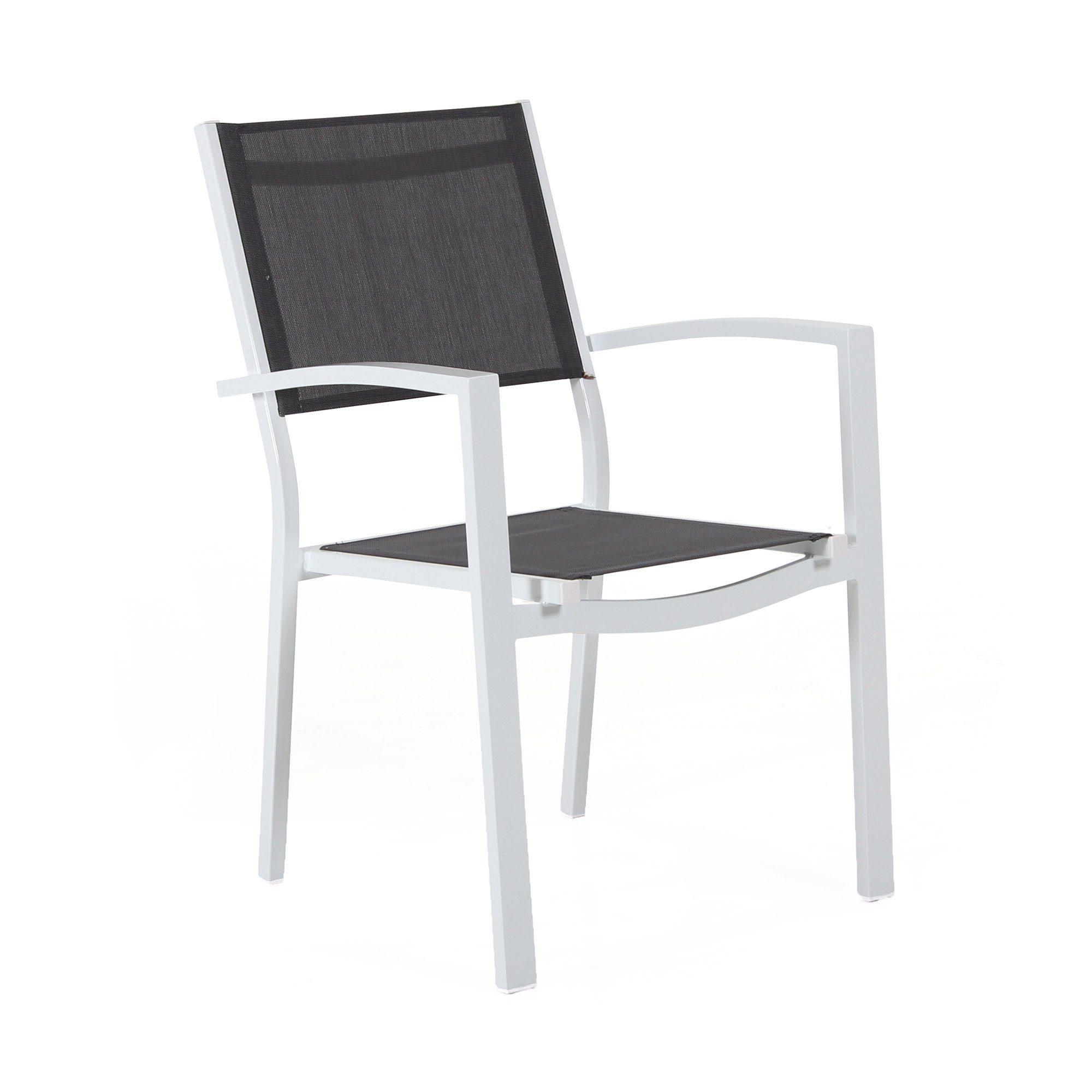 Leone stapelstol i vit matt aluminium .