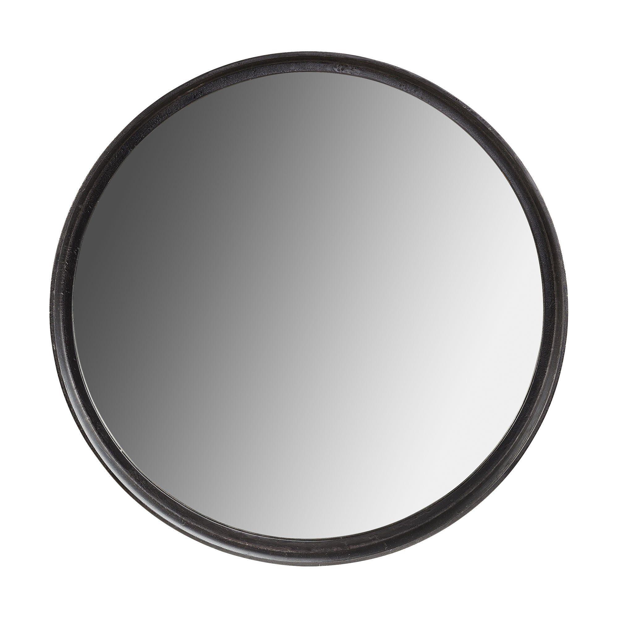 Dino rund stor spegel i svart järn från Artwood.