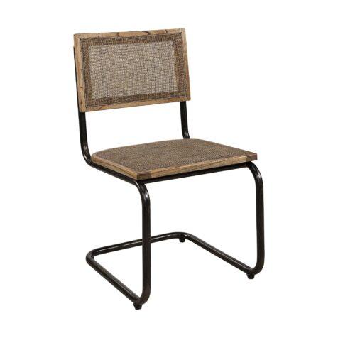 Emile matstol med rottingsits och stomme av järn.