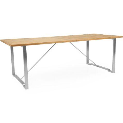 Gotland matbord 220 cm långt i rostfri stål och teak.
