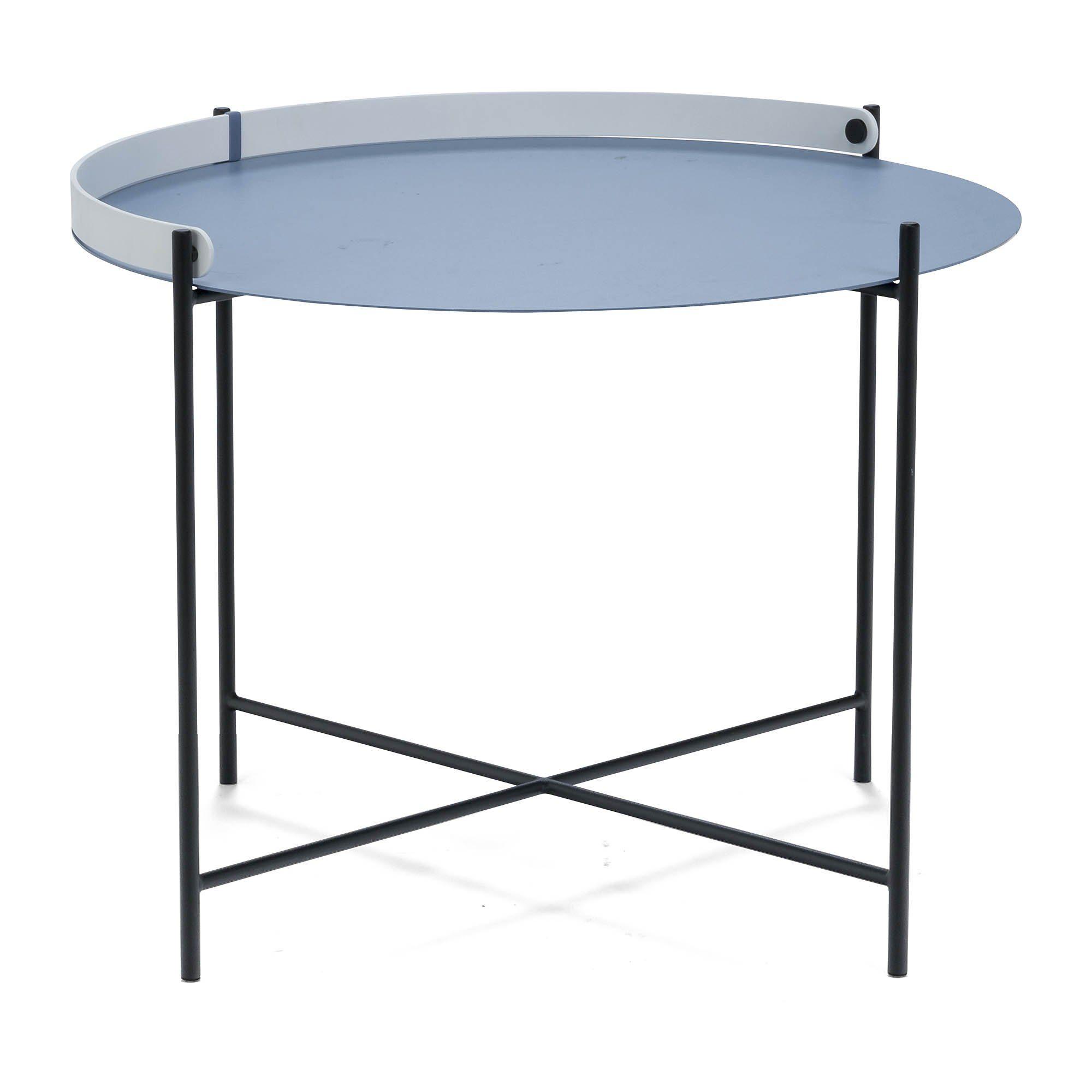 Edge sidobord Ø 62 cm i duvblått med svarta ben och vitt handtag.