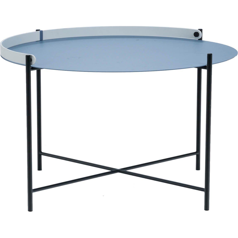 Edge sidobord Ø 76 cm i duvblått med svarta ben och vitt handtag.