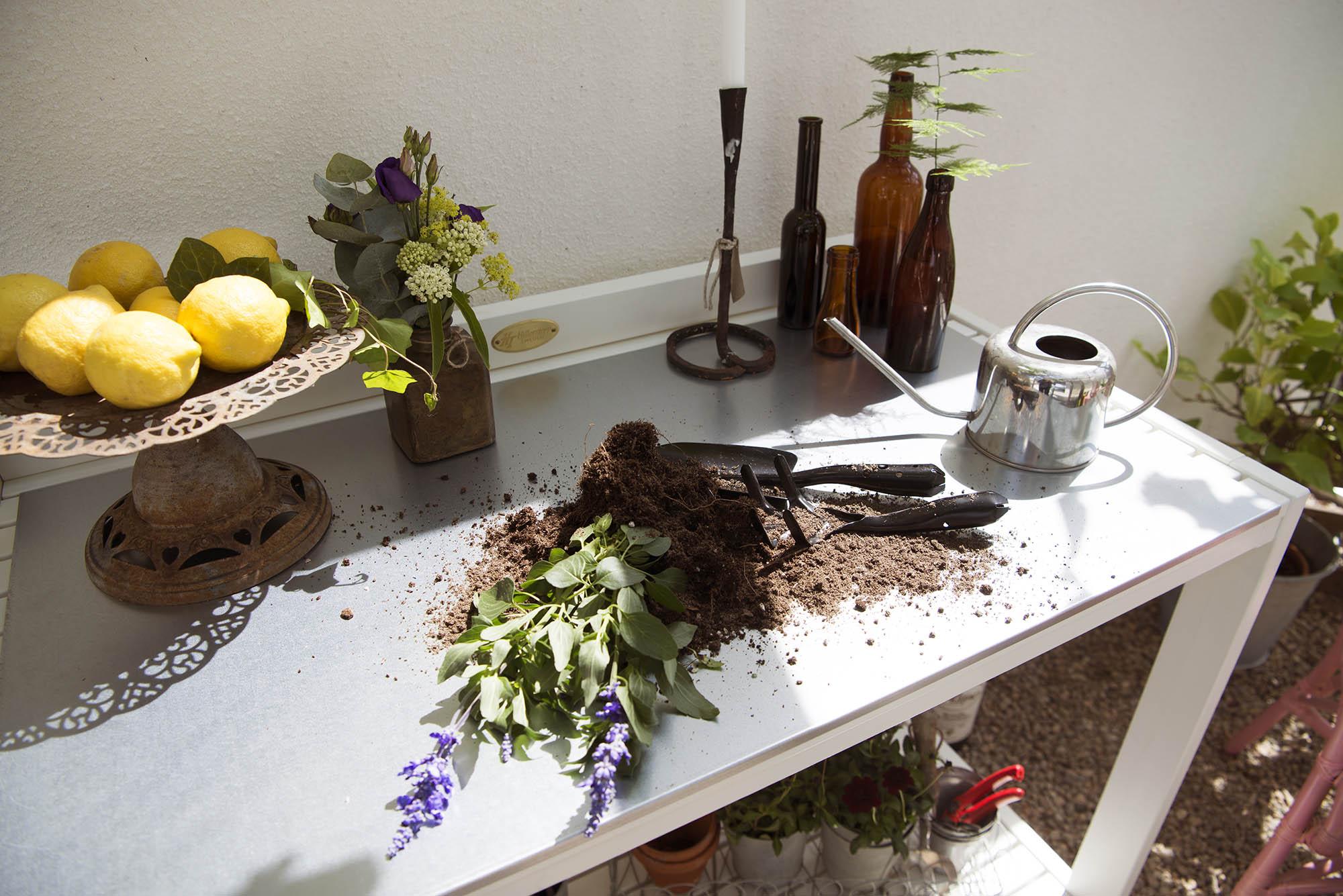 Miljöbild av Läckö arbetsbänk med planteringsplåt i zink.