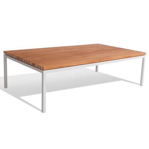 Bönan soffbord i vit aluminium med teakskiva.